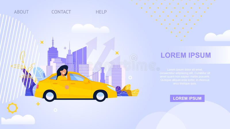 City Taxi Transport Landing Page. Carpool Service. Illustration. Online Application for Rent Vehicle. Yellow Cab with Girl Character. Urban Cityscape and royalty free illustration