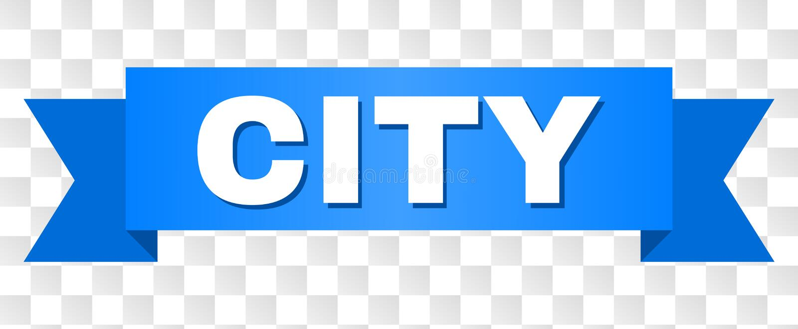 Blue Stripe with CITY Title. CITY text on a ribbon. Designed with white caption and blue tape. Vector banner with CITY tag on a transparent background stock illustration