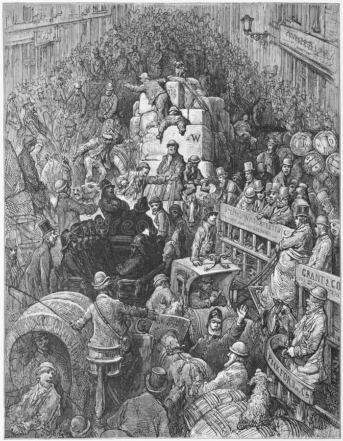 A City Thoroughfare. Picture from Gustave Dore's London: a Pilgrimage illustrated book published in 1873, London - UK