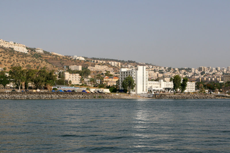 The City of Tiberias by the Sea of Galilee, Israel stock image