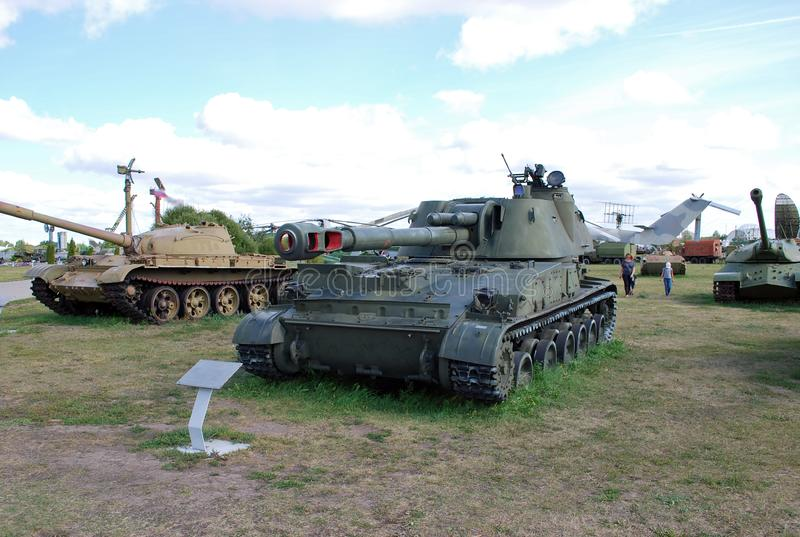 Military exhibit of the Soviet Army of 152 mm self-propelled howitzer 2C3 `Acacia`. City of Togliatti. Samara region. Russia. August 29, 2015. Military exhibit stock image