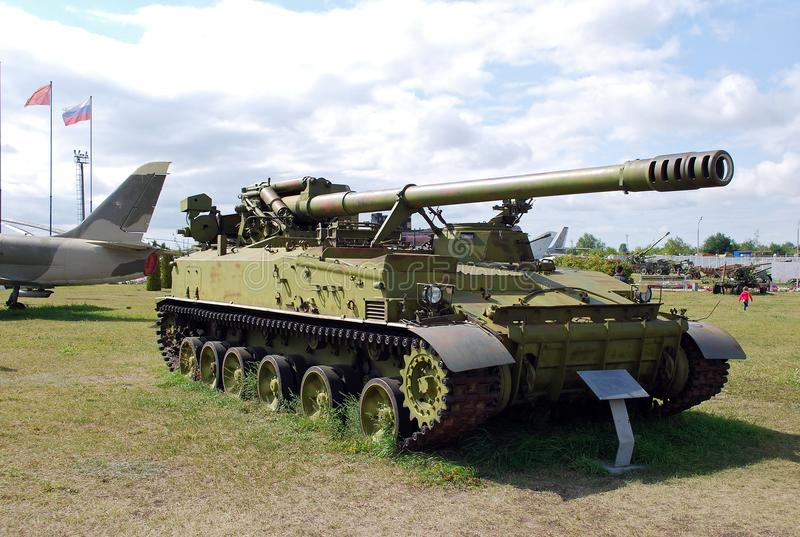 Military exhibit of the Soviet Army of 152 mm self-propelled Hyacinth gun 2C5. City of Togliatti. Samara region. Russia. August 29, 2015. Military exhibit of royalty free stock photos