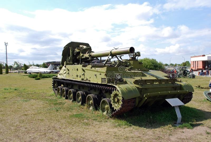 Military exhibit of the Soviet Army of 203 mm self-propelled Peony gun 2C7. City of Togliatti. Samara region. Russia. August 29, 2015. Military exhibit of the royalty free stock photos