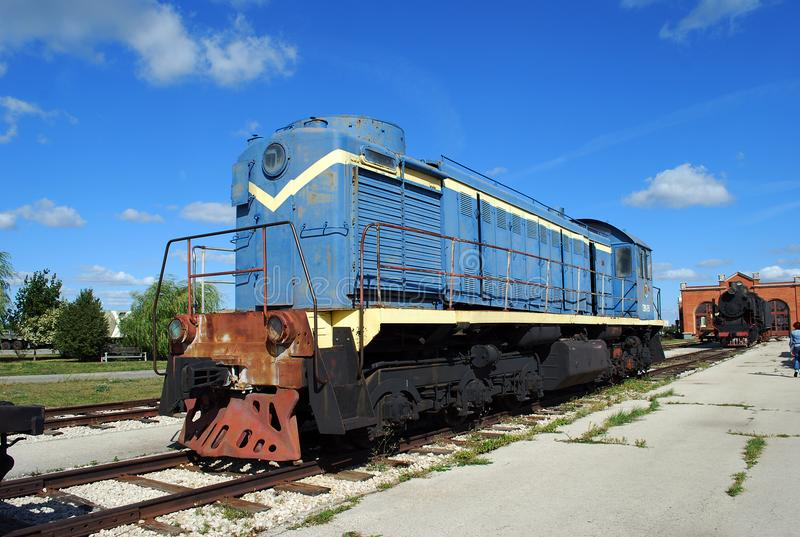 City of Togliatti. Technical museum of K.G. Sakharov. Exhibit of the museum TEM1 Soviet shunting locomotive. royalty free stock photos