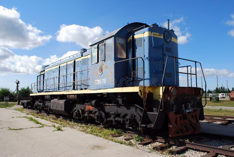 City of Togliatti. Technical museum of K. G. Sakharov. Exhibit of the museum TEM1 Soviet shunting locomotive. royalty free stock photo