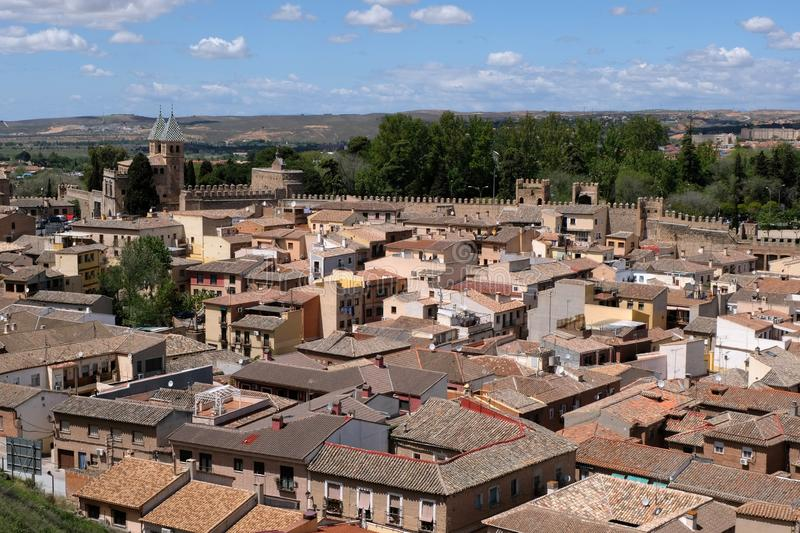 The city of Toledo with its ramparts in Spain. General view of the city of Toledo with its ramparts in spain stock photography