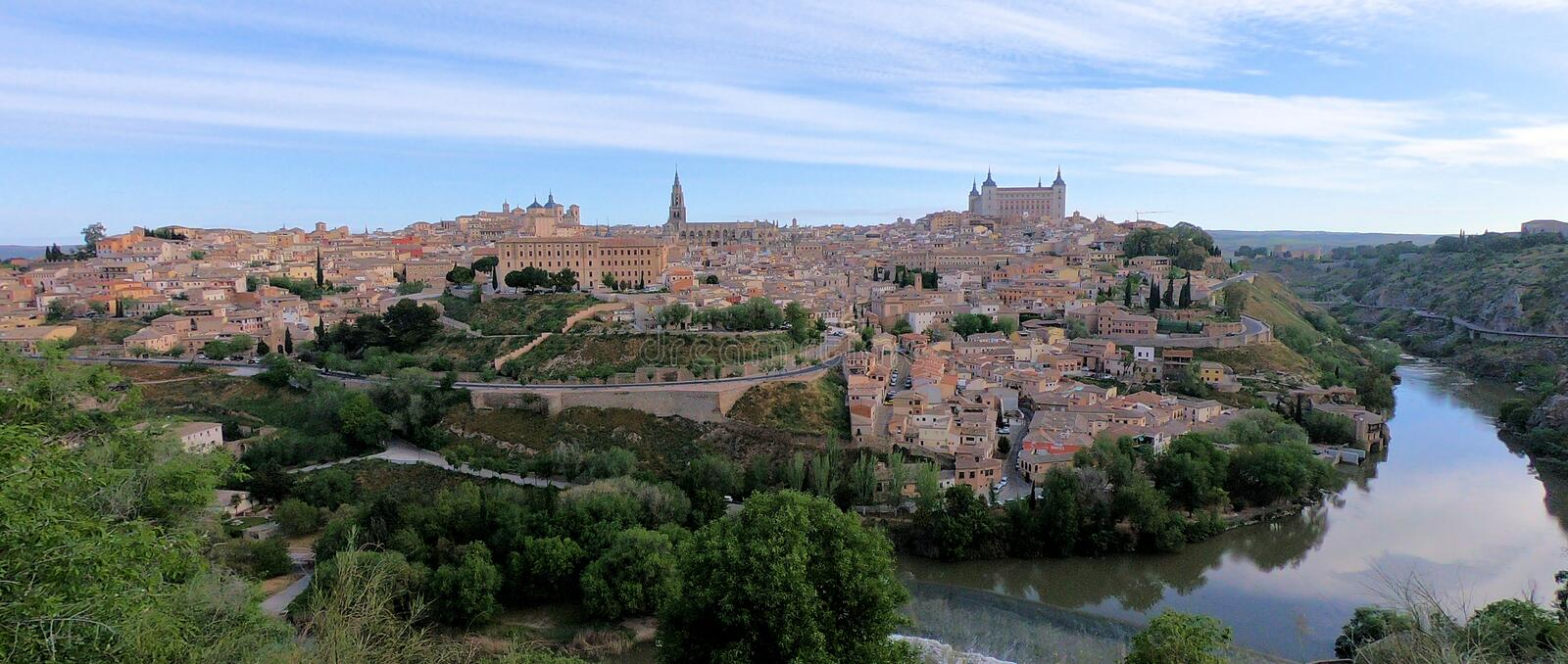 City of Toledo Spain. Beautiful skyline of the city of Toledo in Spain royalty free stock photos
