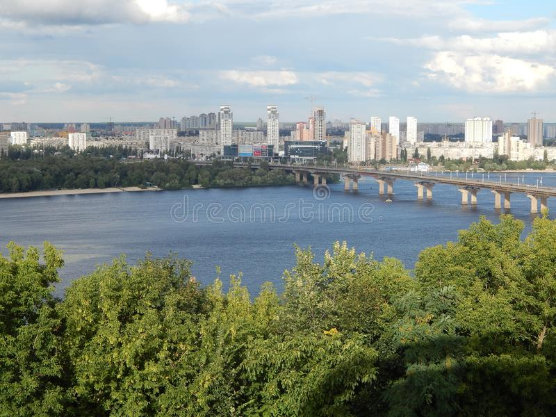 City tour of Kiev view of the left bank of the Dnieper River royalty free stock image