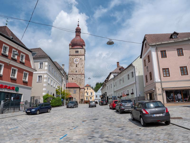 City Tower of Waidhofen an der Ybbs in Lower Austria. Waidhofen an der Ybbs - 30 May 2019: The City Tower of Waidhofen an der Ybbs, called Stadtturm un German stock photo