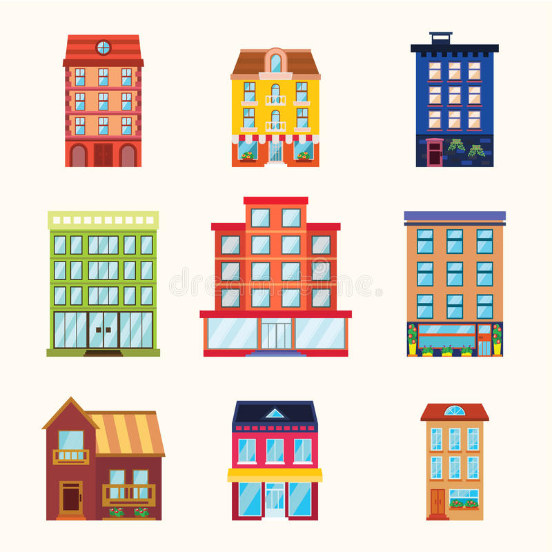 City and town buildings icon set royalty free illustration