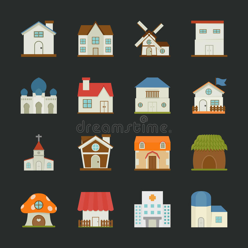 Download City And Town Buildings Icons , Flat Design Stock Vector - Image: 37228087