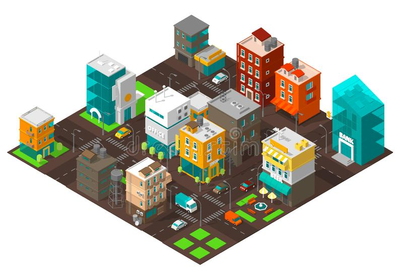 City town district street Isometric Intersection road 3d. Very high detail projection view. Cars end buildings top view. royalty free illustration