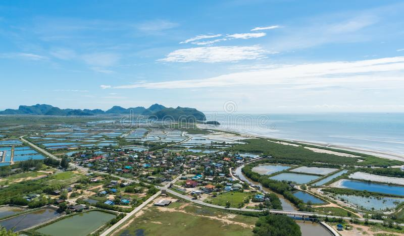 City or Town and Home Top View at Khao Dang View Point Prachuap Khiri Khan Thailand 4 stock images