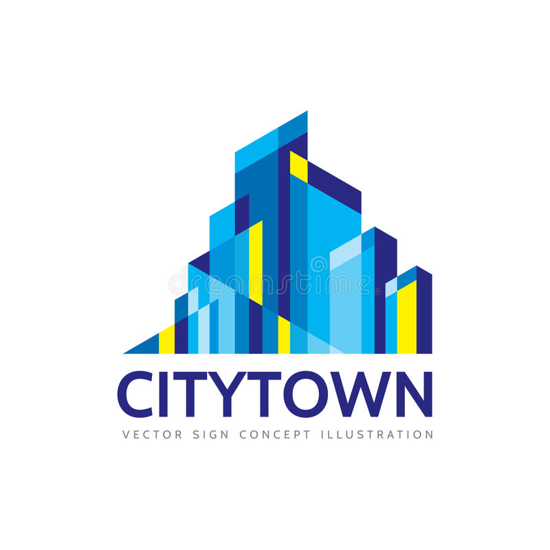 City town - real estate logo template concept illustration. vector illustration