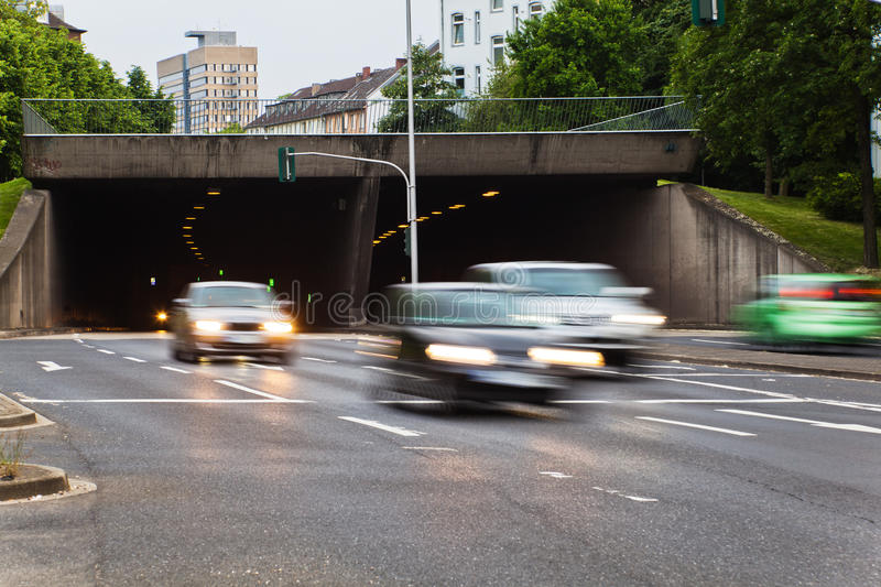 City traffic with cars in motion blur royalty free stock photos