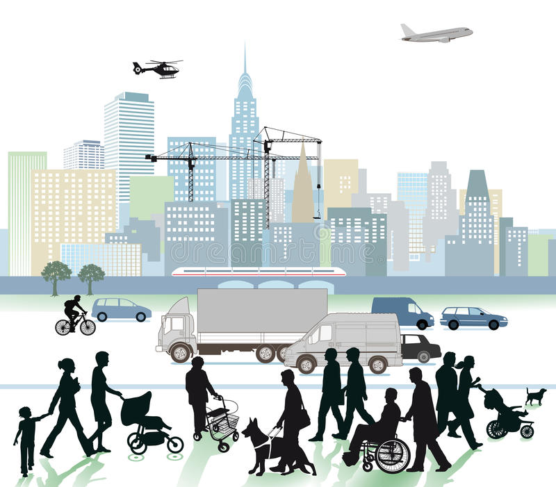 Download City and traffic stock vector. Image of airplane, skyline - 33600478