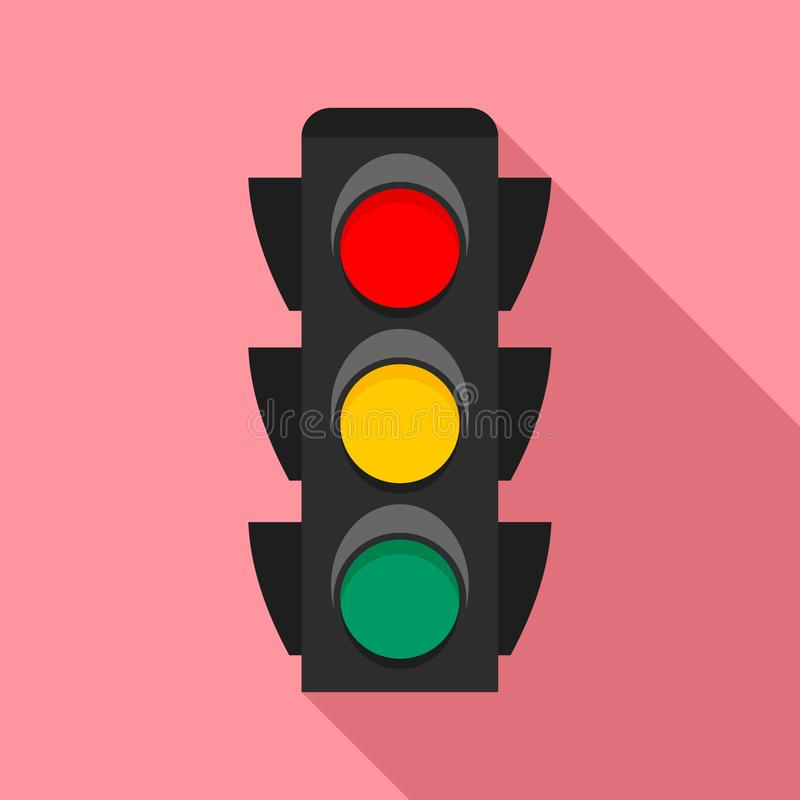 City traffic lights icon, flat style. City traffic lights icon. Flat illustration of city traffic lights vector icon for web design stock illustration