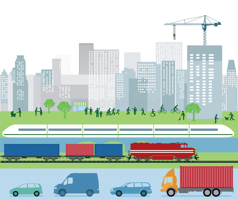 City traffic and public transportation. Urban landscape with truck and auto traffic, cargo train and commuter train against park and city skyline with vector illustration