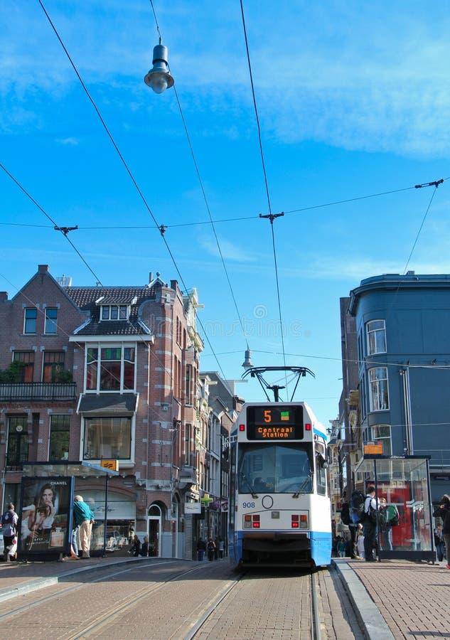 City tram Amsterdam royalty free stock photography