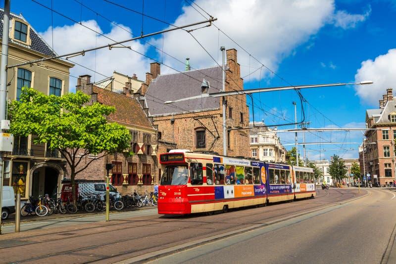 City tram in Hague stock photos