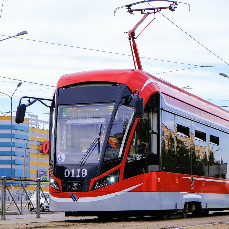 City tram. Tram on light rail transport in St. Petersburg. Russia. 06.12.2019. royalty free stock photo