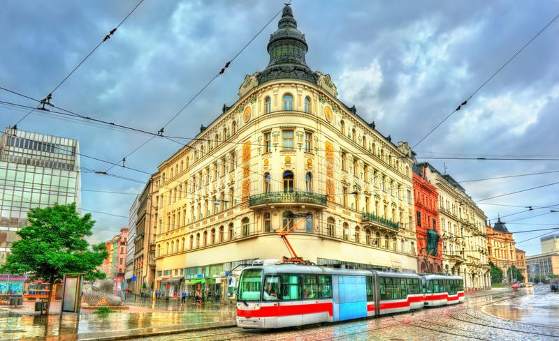 City tram in the old town of Brno, Czech Republic royalty free stock photo