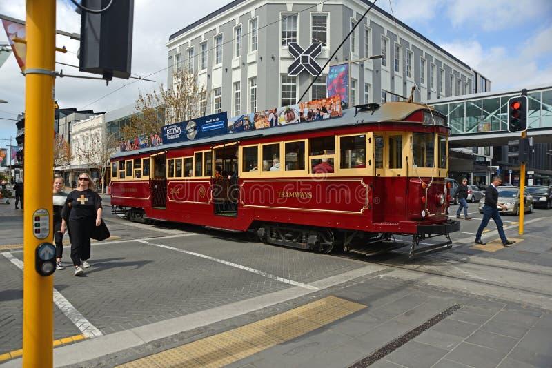 City tram tours downtown Christchurch stock photo