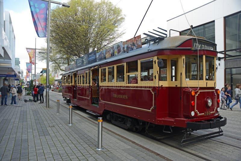 City tram tours downtown Christchurch stock photos