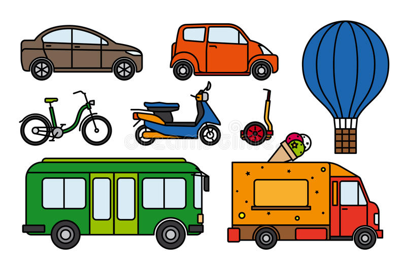 City transport flat linear icons set royalty free illustration