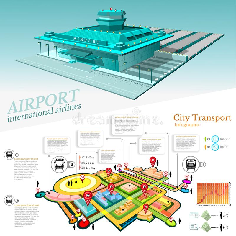 City transport info graphic with building of airport and part city with transport communication stock illustration