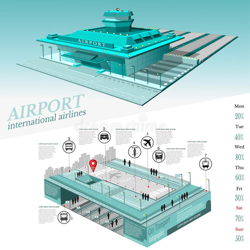 City transport info graphic with building of airport and two level part street with transport royalty free illustration
