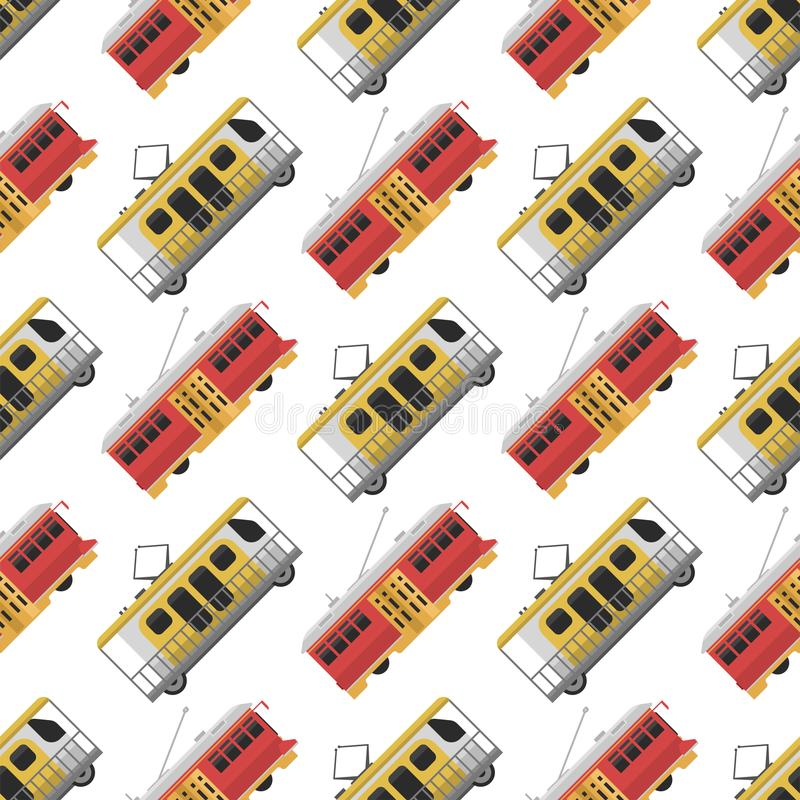 City transport public industry tram seamless pattern royalty free illustration