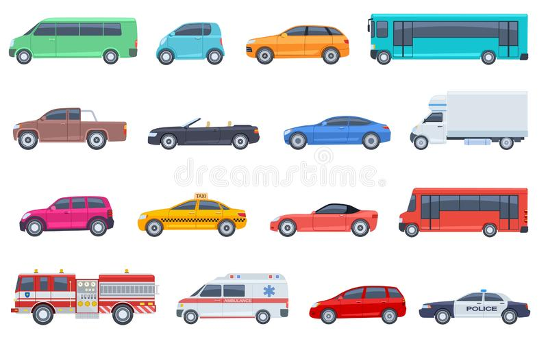 City transport set. Police car ambulance fire engine bus taxi cabriolet suv pickup vector flat isolated urban. Transportation. Car taxi and police, road vehicle royalty free illustration