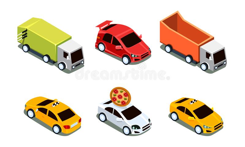 City Transport Set, Urban Public and Freight Vehicles Vector Illustration royalty free illustration