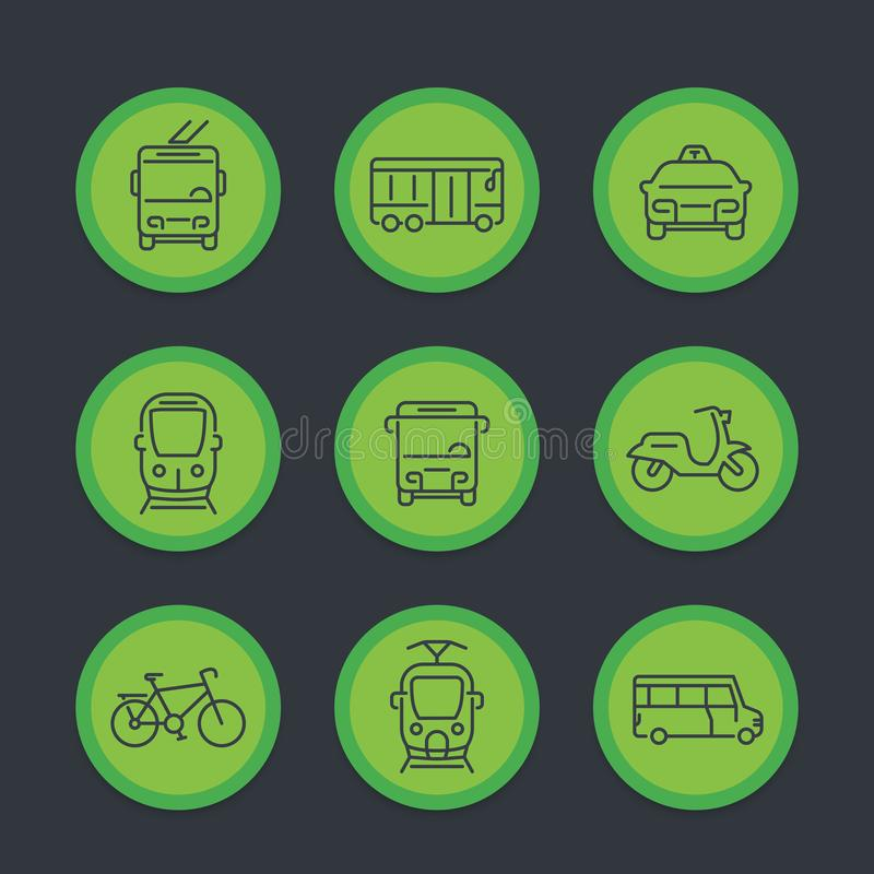 City transport, transit van, cab, bus, icons set. City transport, transit van, cab, bus, taxi, train line icons set, vector illustration royalty free illustration