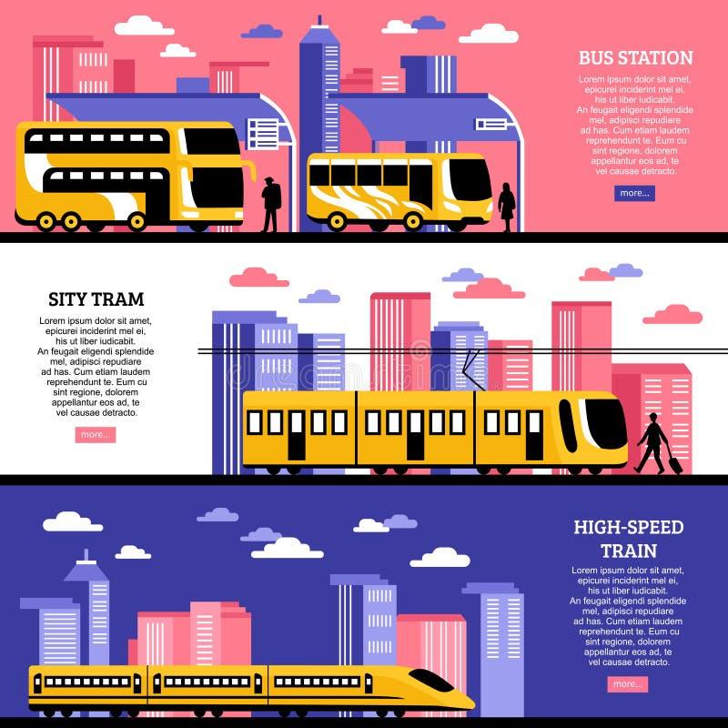 City Transportation Horizontal Banners royalty free illustration