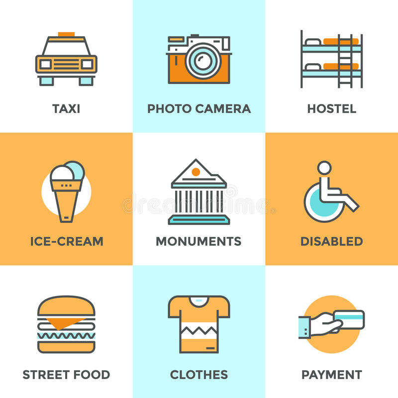 City travel elements line icons set vector illustration