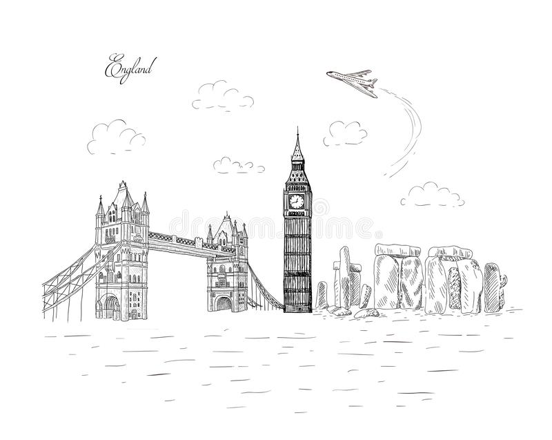 City travel landmarks, tourist attraction in various places of England. Hand Drawn Sketch Vector illustration. Tourist card stock illustration