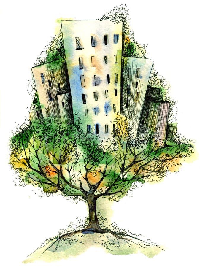 City tree vector illustration