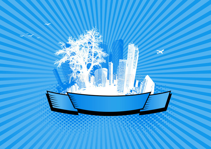 City with tree. Vector