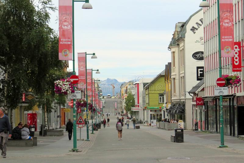 Tromsø, Norway, Europe - August 04, 2013: View into the rather empty pedestrian shopping street Storgata at the early evening stock images