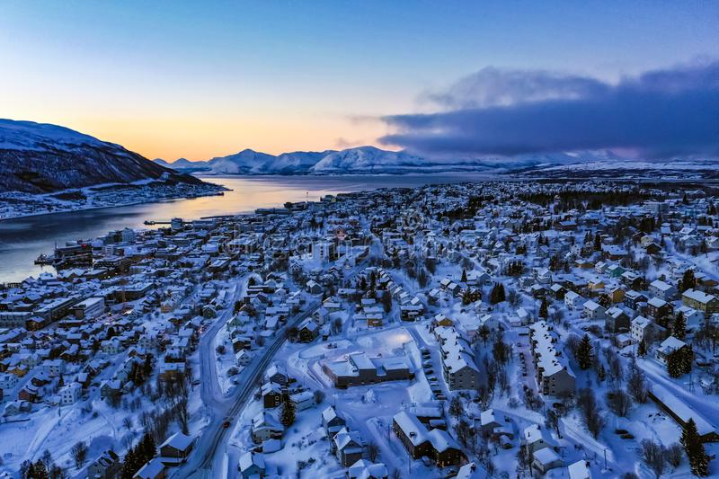 Amazing aerial view of Tromso Norway royalty free stock image