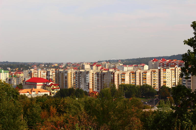City Truskavets. Top view of the city of Truskavets in Ukraine royalty free stock photography