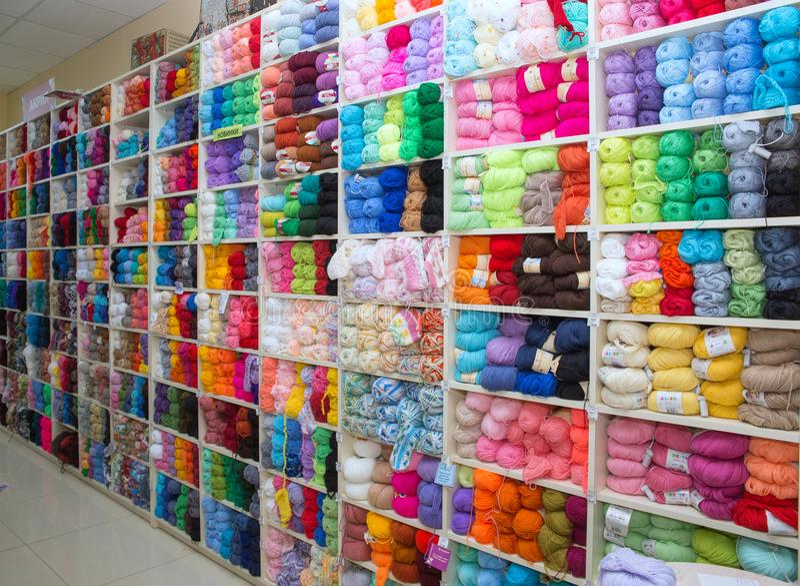 Multicolored acrylic threads stock photos
