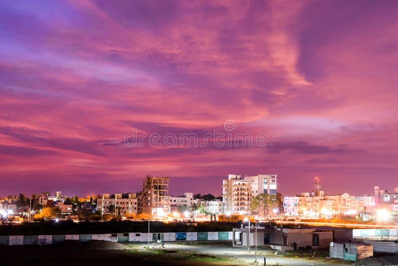 City under blood sky royalty free stock image