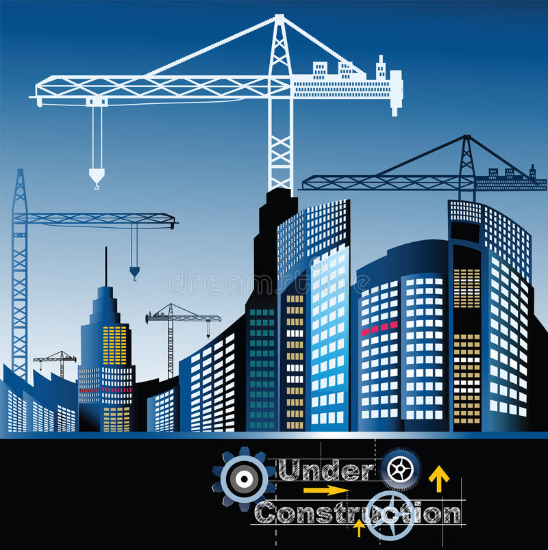 City under construction. Modern city with cranes - under construction concept