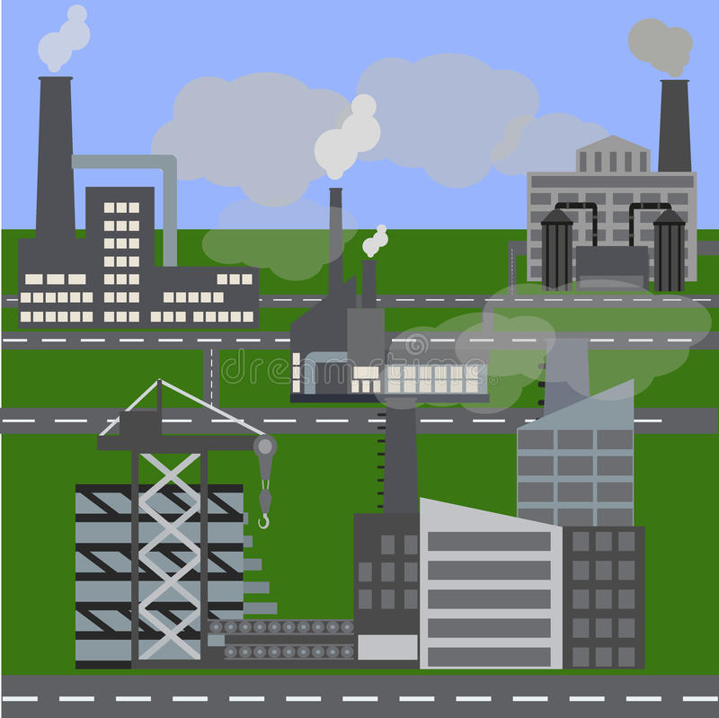 City under construction. Cranes and excavators. Engineering concept. Building project. Architecture development. Vector flat style illustration. Image for vector illustration