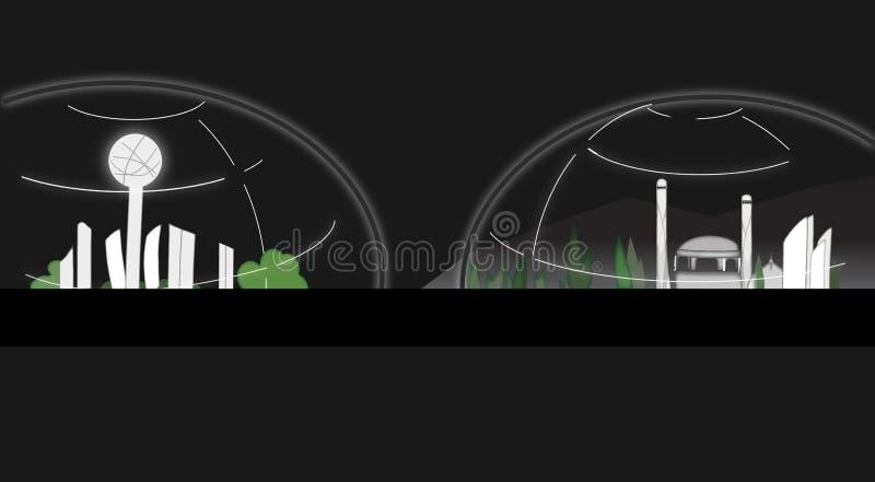 City Under Dome Illustration On Black Background royalty free illustration