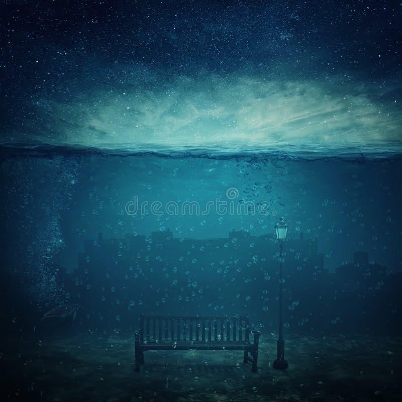 City underwater vector illustration