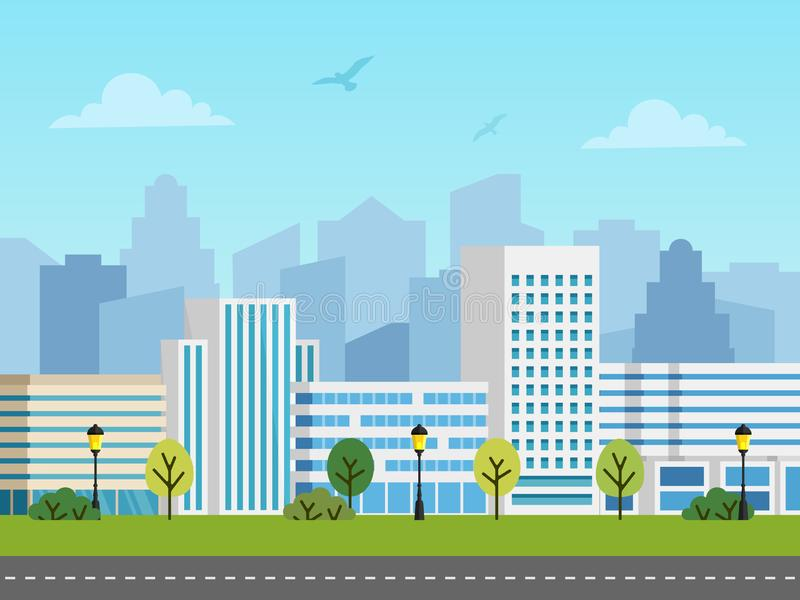 City urban vector landscape, buildings and skyscrapers stock illustration
